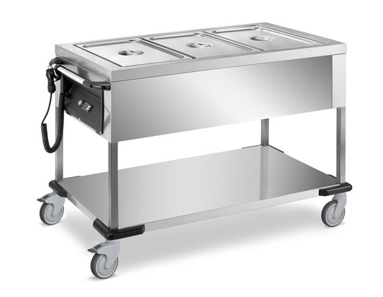 heated trolley with pressed basin, bain-marie and dry heating