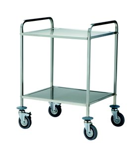 trolley with two removable shelves stainless steel aisi 18/10, square tube
