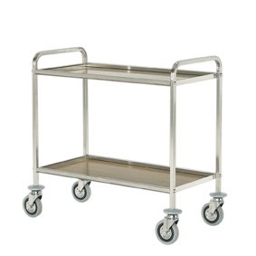 trolley with two laminated shelves, square tube
