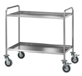 trolley with two shelves in stainless steel aisi 18/10, round tube