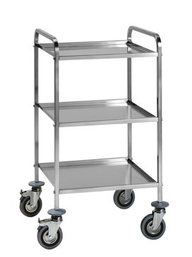 trolley with three removable shelves stainless steel aisi 18/10, square tube