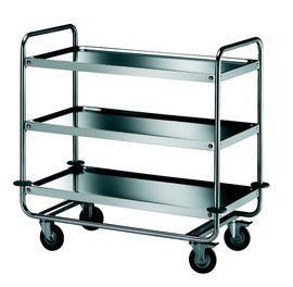trolley with three shelves in stainless steel aisi 18/10, round tube
