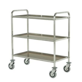 trolley with three laminated shelves, square tube