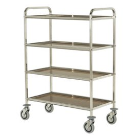 trolley with four laminated shelves, square tube
