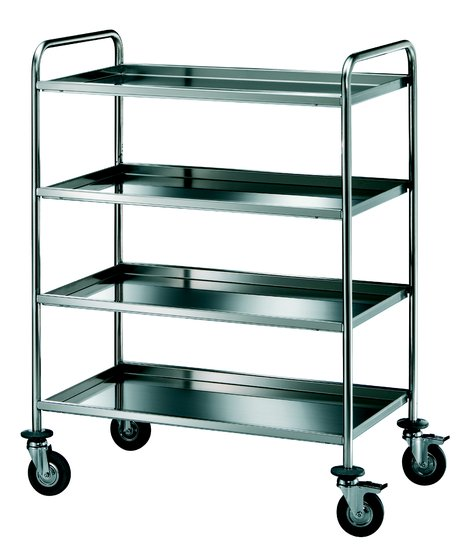 trolley with four shelves in stainless steel aisi 18/10, round tube