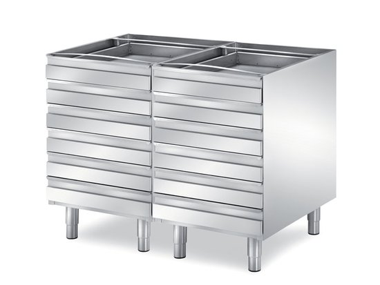 double drawers unit for pizza depth 700 mm, 12 drawers