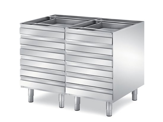 double pizzeria drawers depth 800 mm, 12 drawers