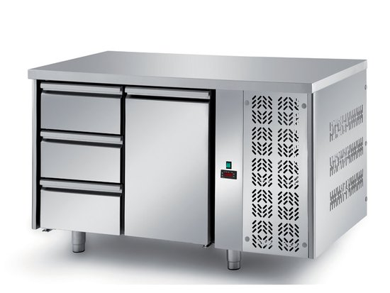 refrigerated ventilated tables with motor, 1 door and 3 drawers mod. fgl6
