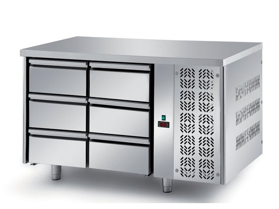 refrigerated ventilated tables with motor, 6 drawers mod. fgl7