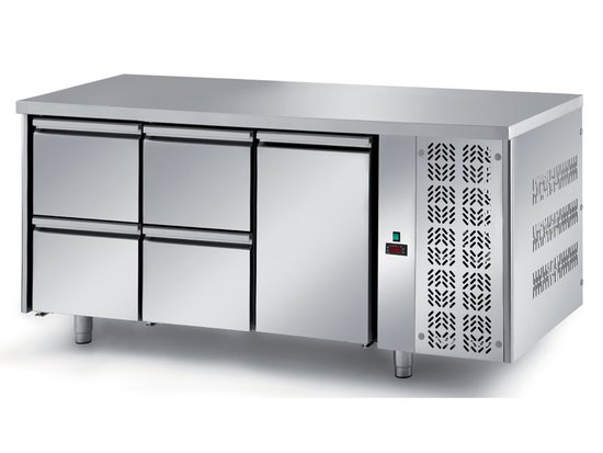 refrigerated ventilated tables with motor, 1 door and 4 drawers mod. fgm3