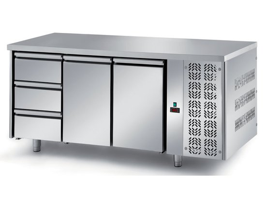 refrigerated ventilated tables with motor, 2 doors and 4 drawers mod. fgm7