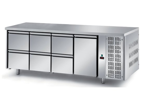 refrigerated ventilated tables with motor, 1 door and 6 drawers mod. fgn4