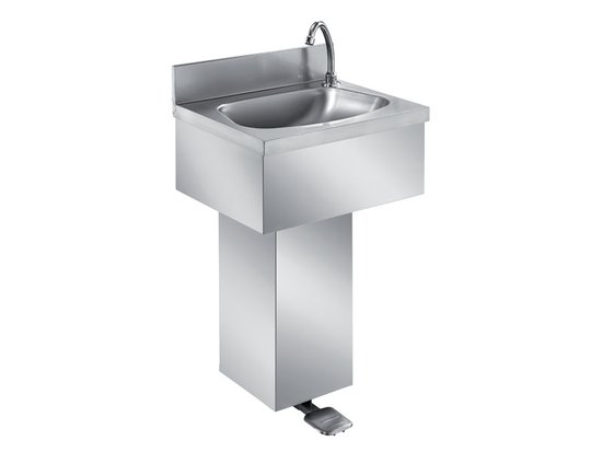 WALL HANDWASHING SINK ON COLUMN WITH PEDAL CONTROL