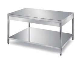 tables with 1 under shelf, rounded front edge on one side
