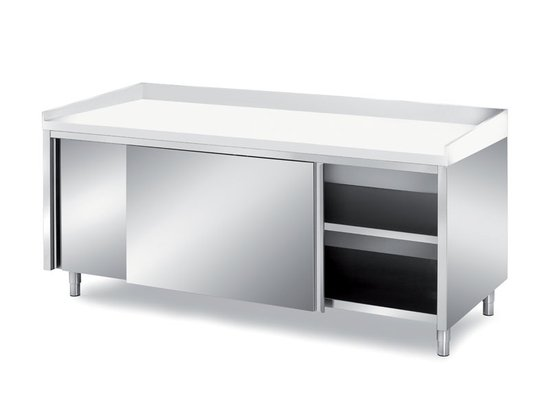 bakery cabinet tables with polythene top and sliding doors