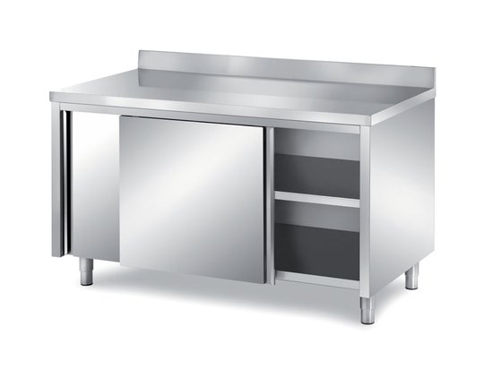 cabinet tables with sliding doors with backsplash depth 600