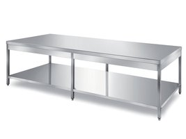 central tables for bakery, rounded front edge on two sides