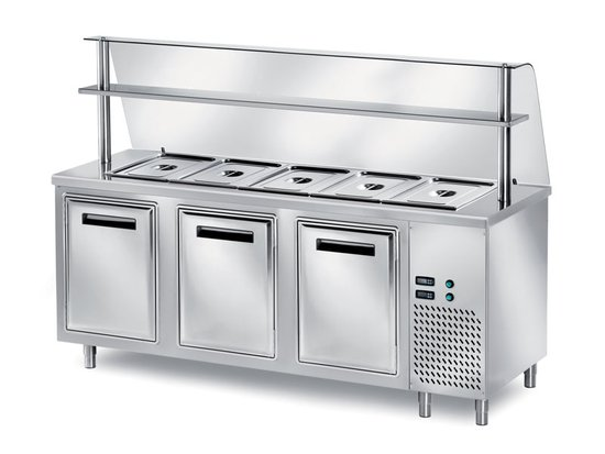self-service refrigerated table with glass 800 mm deep